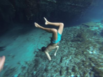 Diving in the cave